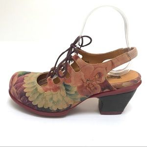 EUC Fluevog Flourish Floral Lace-Up Heels Sz 9.5